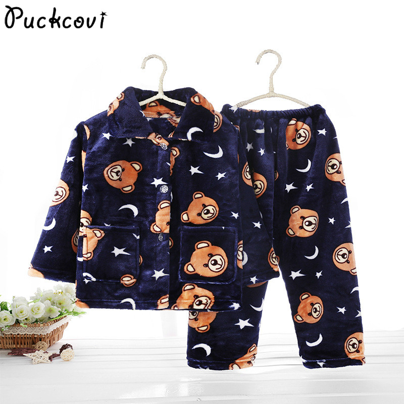 Pijamas Kids Pijama set Coral fleece Baby boy girl printing Pajamas Children flannel sleepwear Infant pajamas warmed for winter