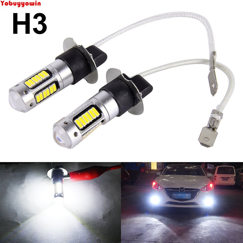 2PCS H3 4014 High Power Chips 30SMD Bulbs Car Auto LED Headlight Fog Light Drving Light Replacement 800LM With Lens White 6000K