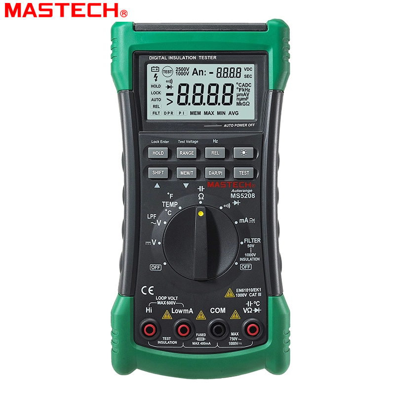 3 in 1 MS5208 6600 Counts Digital Multimeter+Insulation Resistance tester+Megger tester True RMS AC Voltage Current Temperature benetech gm3125 energy saving portable 12v 1 4ma voltage overload insulation resistance tester