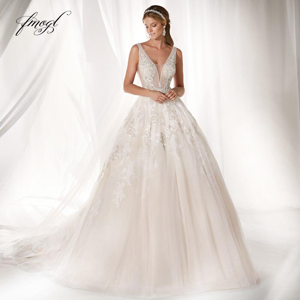 Fmogl Vestido De Noiva Sexy Illusion Wedding Dresses 2019 V Neck Appliques Beaded Court Train Tulle