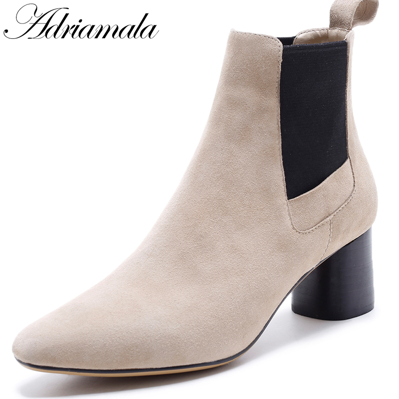 2017 Thick Heels Genuine Leather Ankle Boots Woman Kid Suede Autumn Fashion Pointed Toe Chelsea Boots Women Suede Adriamala цены онлайн