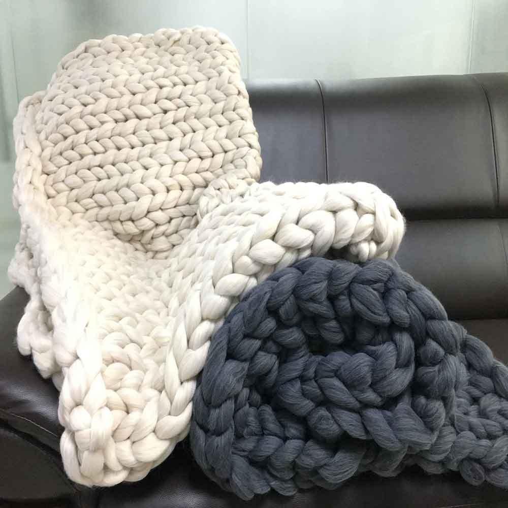 ⑤3 tamaños Super gruesa hecha a mano lana Chunky punto mantas ...