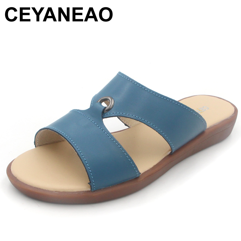 CEYANEAO  Casual Women's Sandals Real Cow Leather Flats Shoes Women Slip-On Summer Female Slides Leisure Beach Flip Flops women jelly shoes candy sandals luxury brand summer beach flats bowknot shoes casual lady fashional envirionmental shoes female