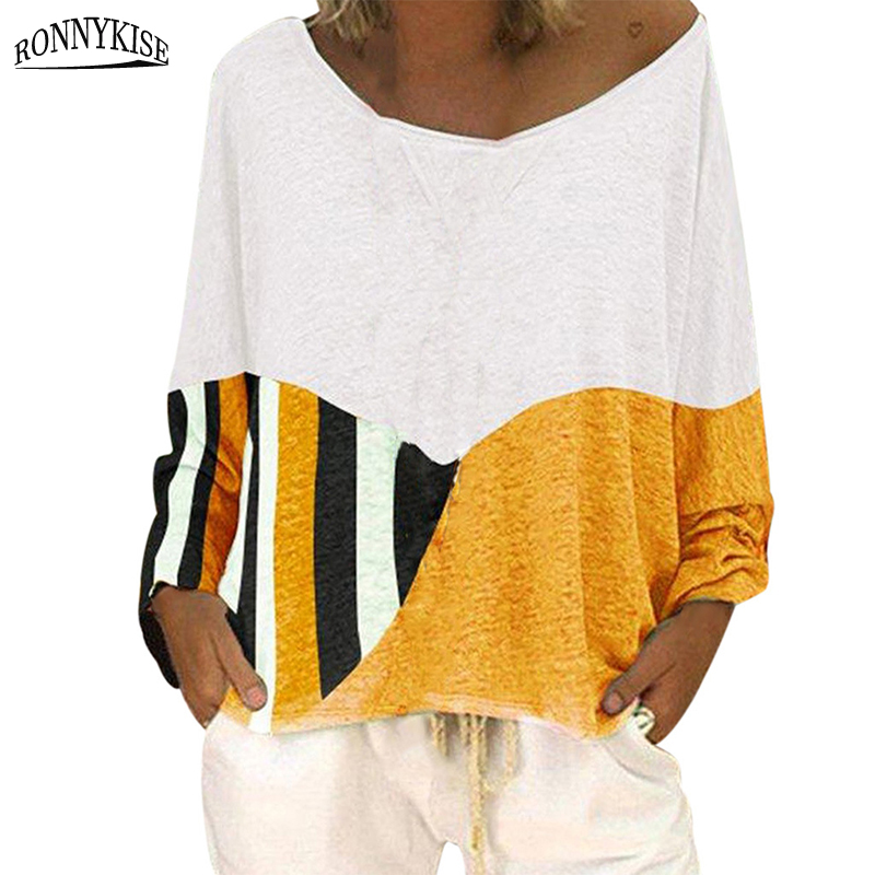 RONNYKISE Stitching Color Cotton T-shirts Womens Fashion Long Sleeve O-neck Plus Size Tops Summer Autumn Casual Loose Shirts