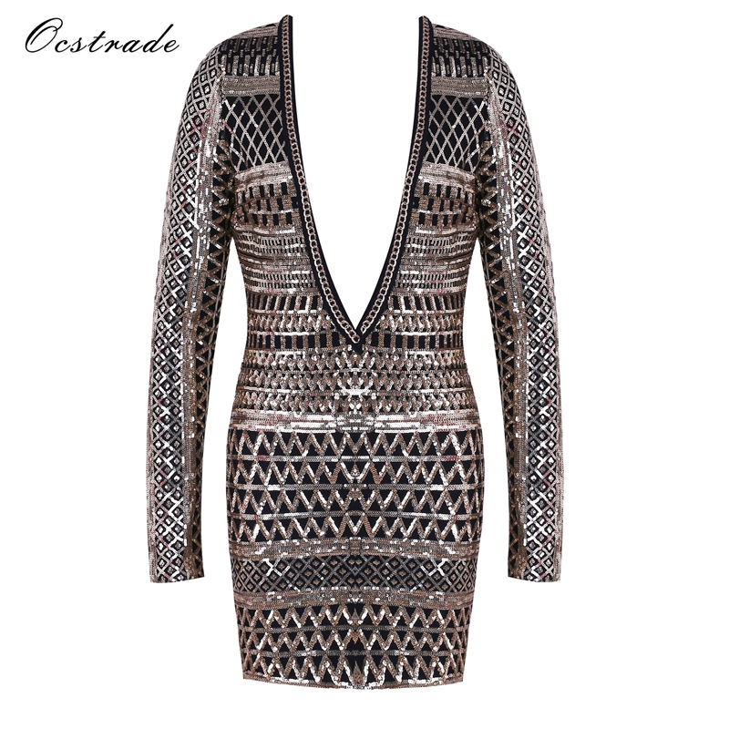 Ocstrade Gold V Neck Long Sleeve Mini Sequined Diamente Embellished Christmas Party Body ...