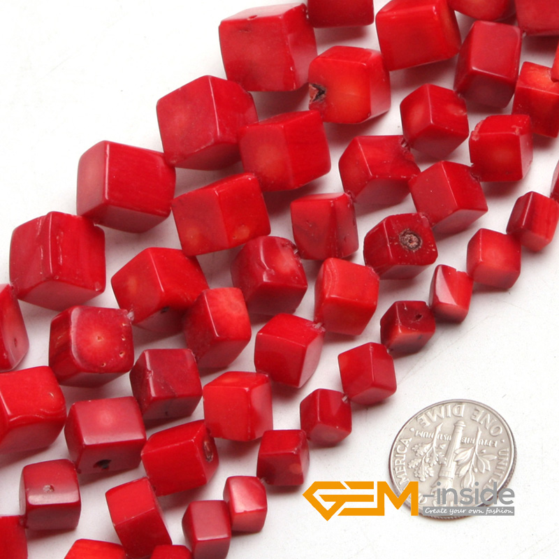 Cubic <font><b>Red</b></font> <font><b>Coral</b></font> Beads For Jewelry Making Strand 15