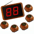 Wireless Calling System 1Pc APE1000 Fixed Receiver and 5 Pcs APE560 Wooden Bell for Kitchen, Bar