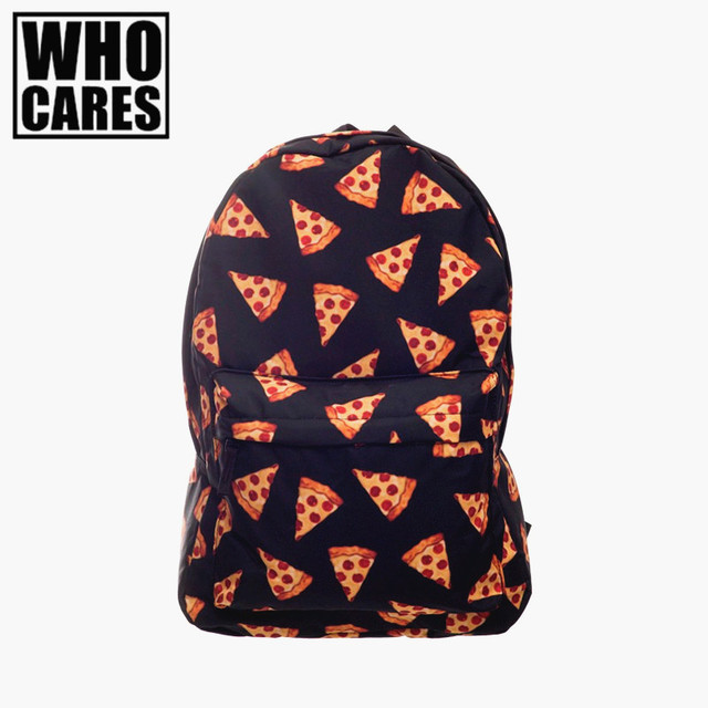 Pizza preto 3d printing backpack mulheres mochilas mochila 2016 who cares nova escola mochilas mochilas sac a dos rugtas zainetto