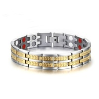 Men Therapy Bracelet Gold Stainless Steel Pure Copper Magnetic Bracelet 2 Row Elements Health HealingPain Relief for Arthritis