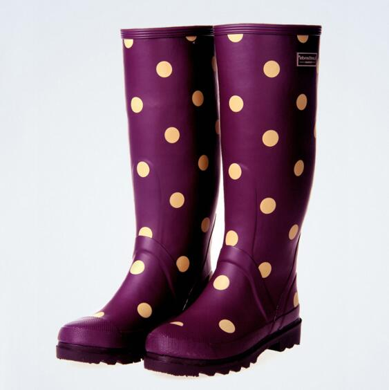 Free shipping Fashion Tall Ms. dot printing color 3 colors optional Anti-skid Rain boots tall tales