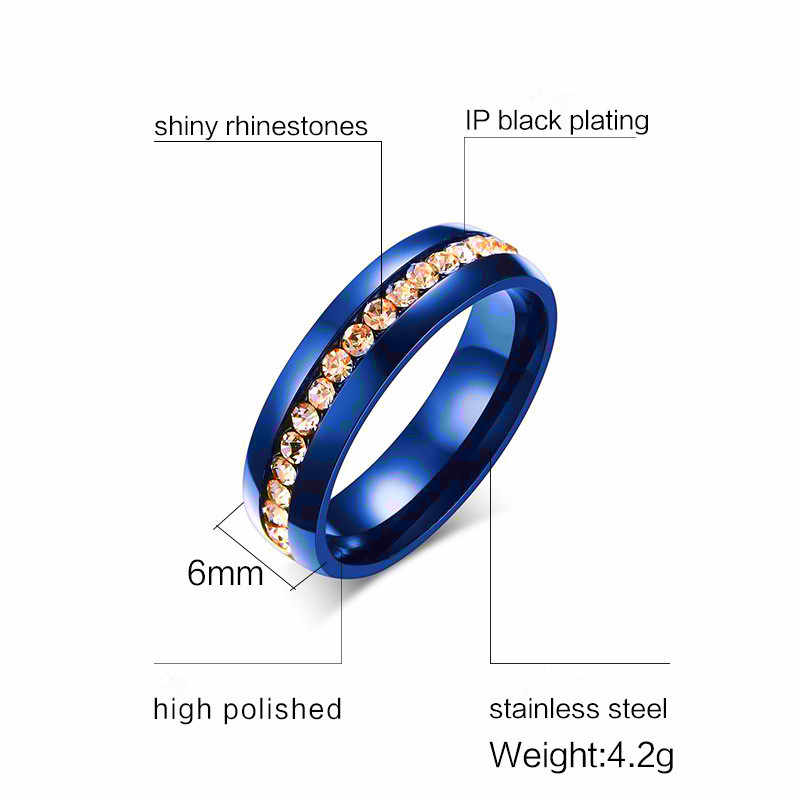QianBei Rows CZ Stones Inlay Ring For Women Elegant Rose Stainless Steel Wedding Band Female Alliance Jewelry Wedding Party Gift