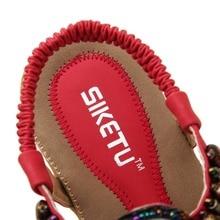 women's flat sandals shoes woman Bohemia beach sandals ethnic retro student flip flop sandals string bead size 35-42