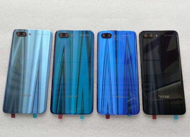 Nueva carcasa trasera de vidrio templado 3D para Huawei Honor 10, piezas de repuesto, carcasa trasera para batería, carcasa para puerta + cubierta de Flash + lente de cámara