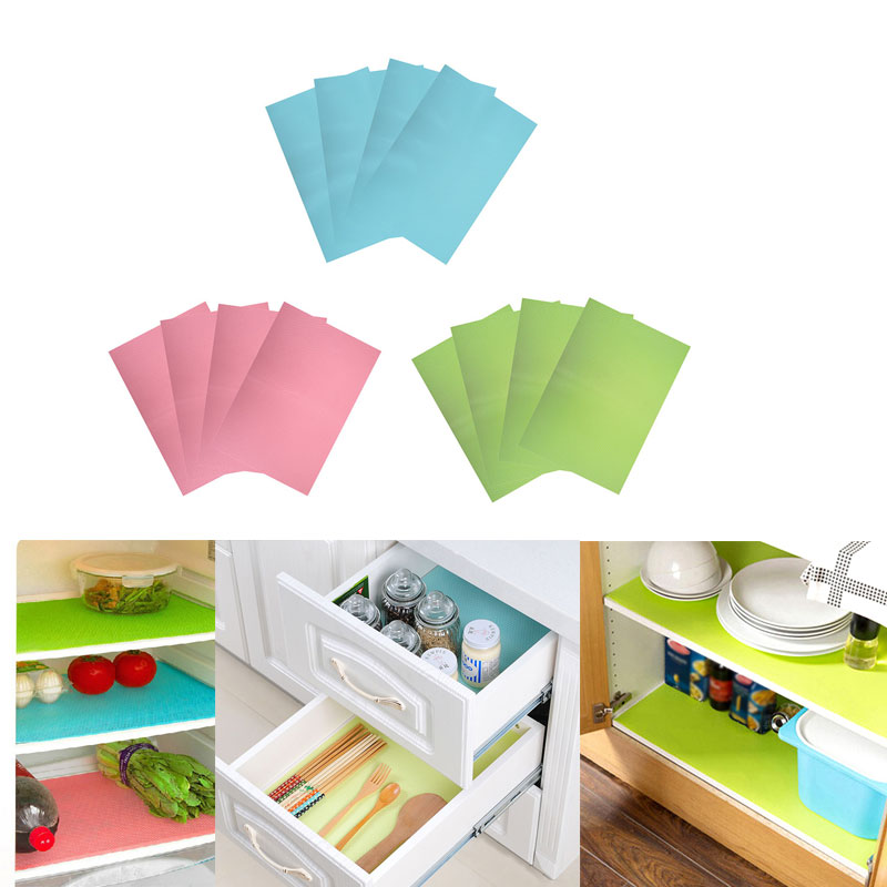 4 Pcs New Fashion Refrigerator Mats Waterproof Mat Anti Bacteria Antifouling Mildew Proof Drawer Cabinet Pad Mat For Kitchen