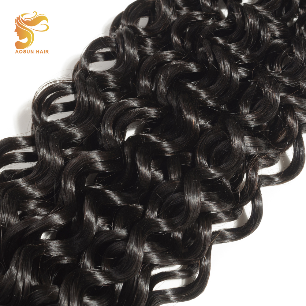 AOSUN Peruvian Deep Wave Bundles 100% Human Hair 8-28 Natural Black Color Can Be Dyed 1 piece Remy Hair Extensions