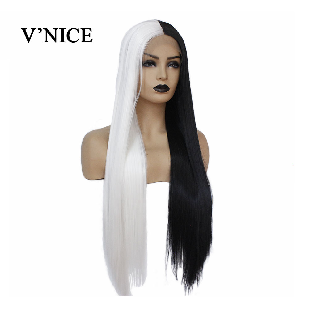 V'NICE Wig Cosplay Lace-Front Half-Black Synthetic Straight White-Color for Women Hand-Tied