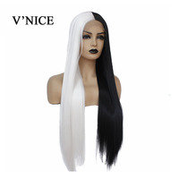 V'NICE Half Black Half White Color Hand Tied Lace Front Straight Wig High Temperature Synthetic Lace Front Wig for Women Cosplay