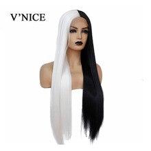 VNICE pół czarny w połowie biały kolor ręcznie wiązanej koronki przodu peruka z prostymi włosami wysokiej temperatury syntetyczna koronka peruka Front dla kobiet Cosplay