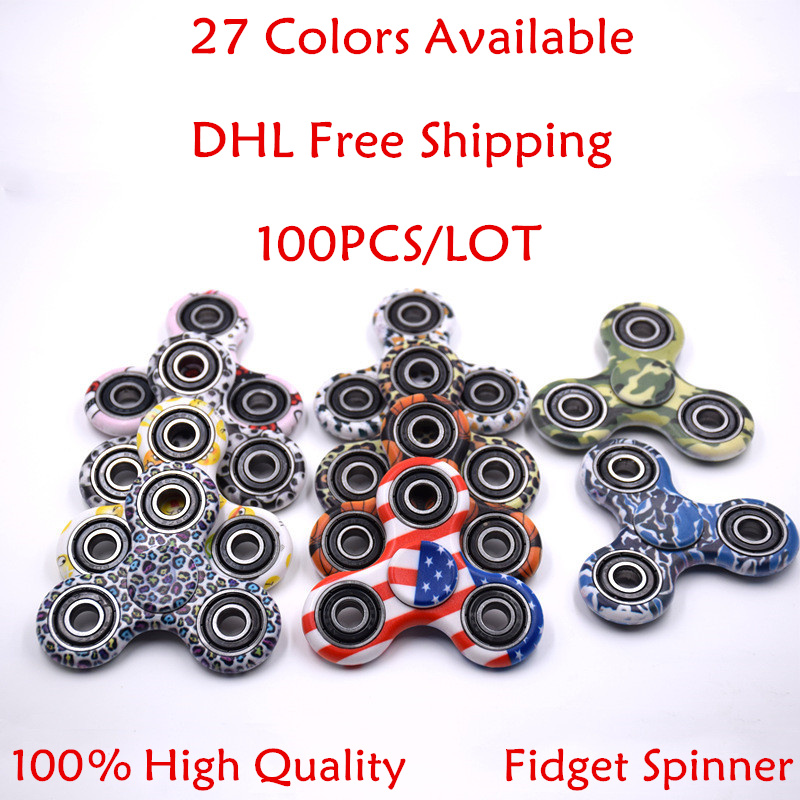 27 Colors 100Pcs/Lot Camo EDC Tri-Spinner Fidgets Toys Finger Spinner For ADHD...