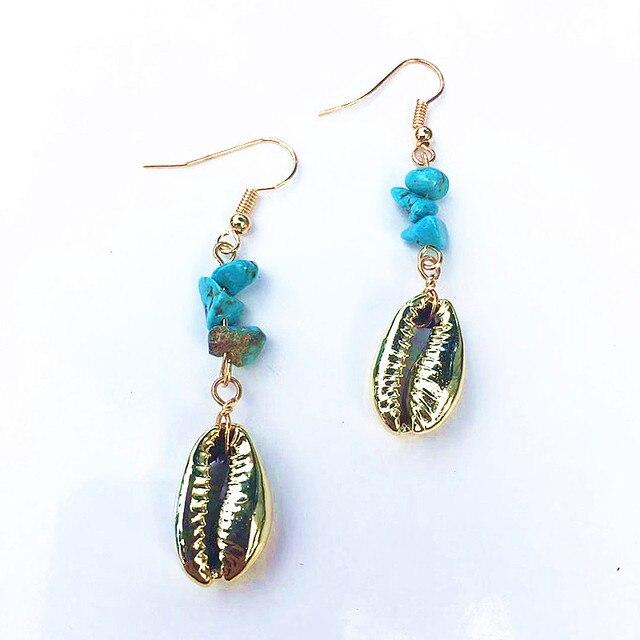 Dm pedra conchas cowrie brincos femininos 2020 banhado a ouro longo dangle earing boho jóias brinco oorbellen bijoux femme conchas 1