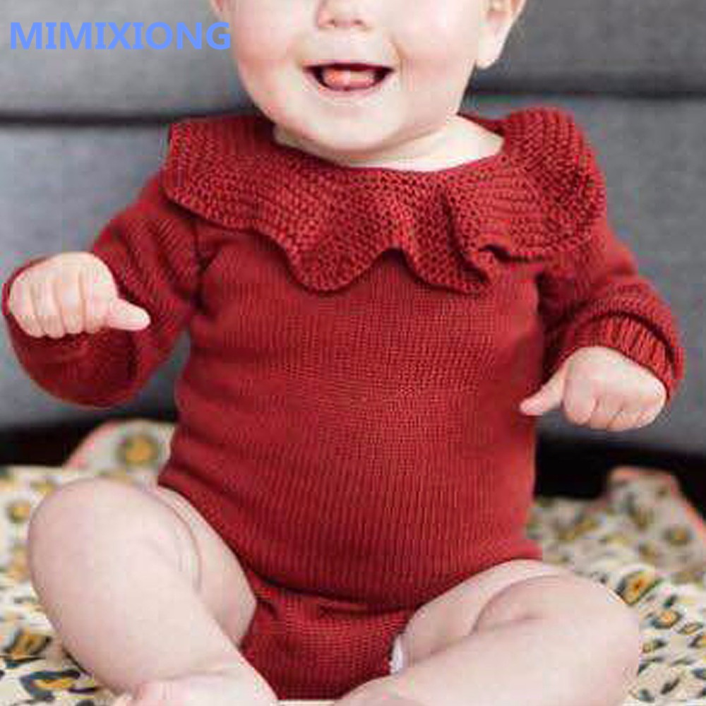 все цены на Baby Girl Bodysuits Long Sleeve Toddler Infant Onsie Grey Ruffle Neck Knitted Newborn Coveralls Button Cover Kids Winter Clothes