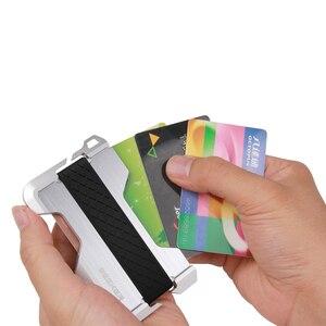 Image 4 - ZEEKER yeni tasarım alüminyum Metal RFID engelleme kredi kart tutucu hakiki deri Minimalist kart cüzdan erkekler için