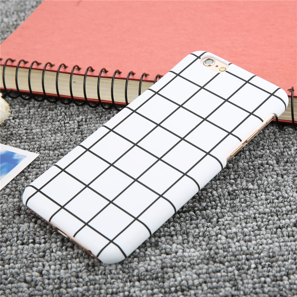 Fashional black white grid stripe phone cases for iphone 7 6 6s plus se 5 5s case top quality hard pc matte frosted cover funda
