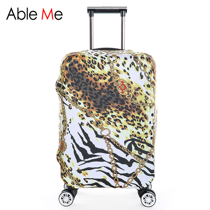 Leopard and Flower Pattern Fashion Suitcase Luggage Protective Covers Smile Prints 18~32inch Elastic Travel Trolley Bag Cover