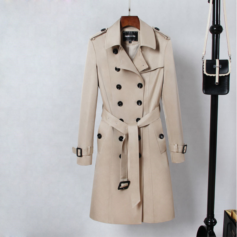 England style khaki color trench coat women turn down collar double breasted slim long outerwear 2019 autumn winter