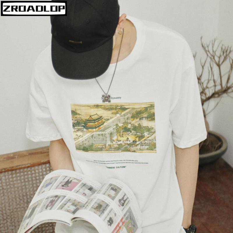 100% Quality 2019 Hip Hop T Shirt Streetwear Ancient Chinese Song Dynasty Painting T-shirt Mens Cotton Short Sleeve Tshirts Summer Tops Tees A Plastic Case Is Compartmentalized For Safe Storage Men's Clothing
