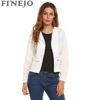 Finejo Slim OL Casual Women Blazer Jacket Coat Long Sleeve Lapel Front Open Solid Zipper Waist