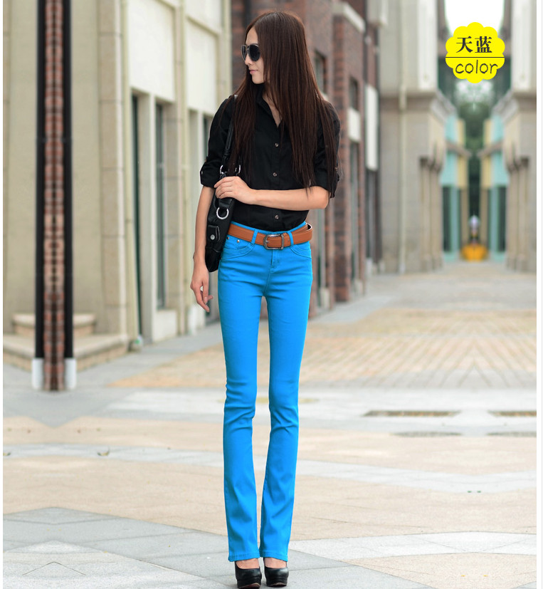 Women Jeans 2018 Candy Color Bodycon Woman Denim Pants Workwear High Waist Slim Elastic Ladies Flare Trousers pantalone femme
