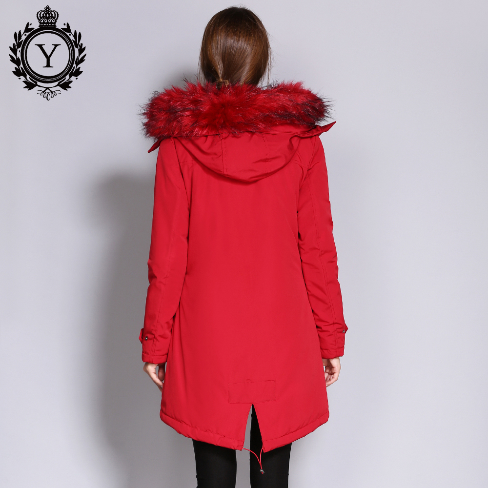 COUTUDI Womens Winter Jacket 2017 Fur Collar Coats Female Warm Parkas Thick Solid Red Jackets with a Hood for Womens Clothing