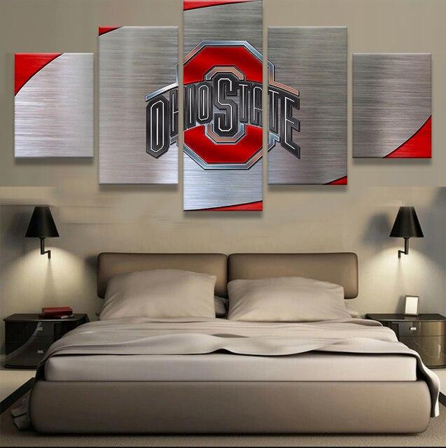 5 Panel Ohio State Buckeyes Logo Modern Home Wall Decor Painting Canvas Art Hd Print