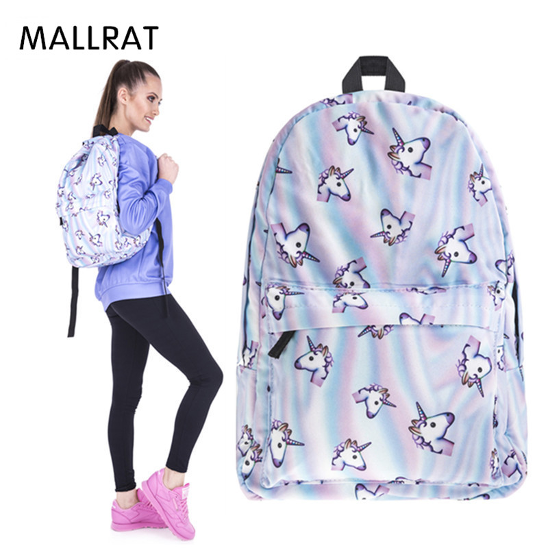 MALLRAT Women Unicorn Backpack 3D Printing Travel Softback Bag Mochila School Cat Backpack Notebook For Girls Backpacks bag for women 2017 korean bts backpacks for adolescent girls canvas children school backpack printing backpack mochila escolar