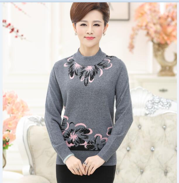 New fancy design old womens floral pullover sweater long sleeve thick sweater