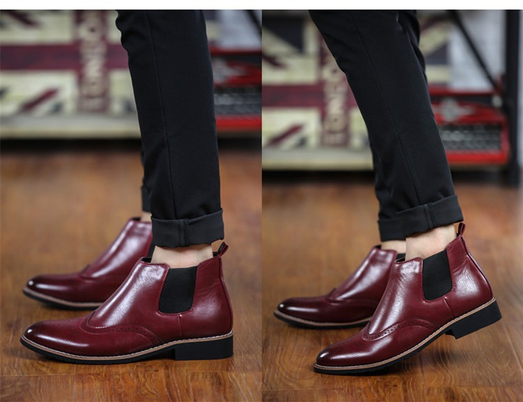 LOVE Spring Autumn Men\'s Chelsea Boots Casual Round Toe Brogue Leather Boots For Men Ankle Boots Square Heel Dress Shoes F107 (4)