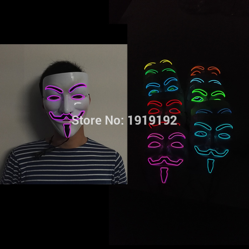 By 3V Steady on/ Sound Active Driver EL wire Fashion V for VENDETTA Halloween Cosplay 10 Color MASK Costume for party masks
