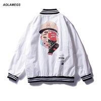 Aolamegs hombres chaqueta casual High Street color Cara impresión béisbol viento Chaquetas hip hop Harajuku streetwear windbreaker