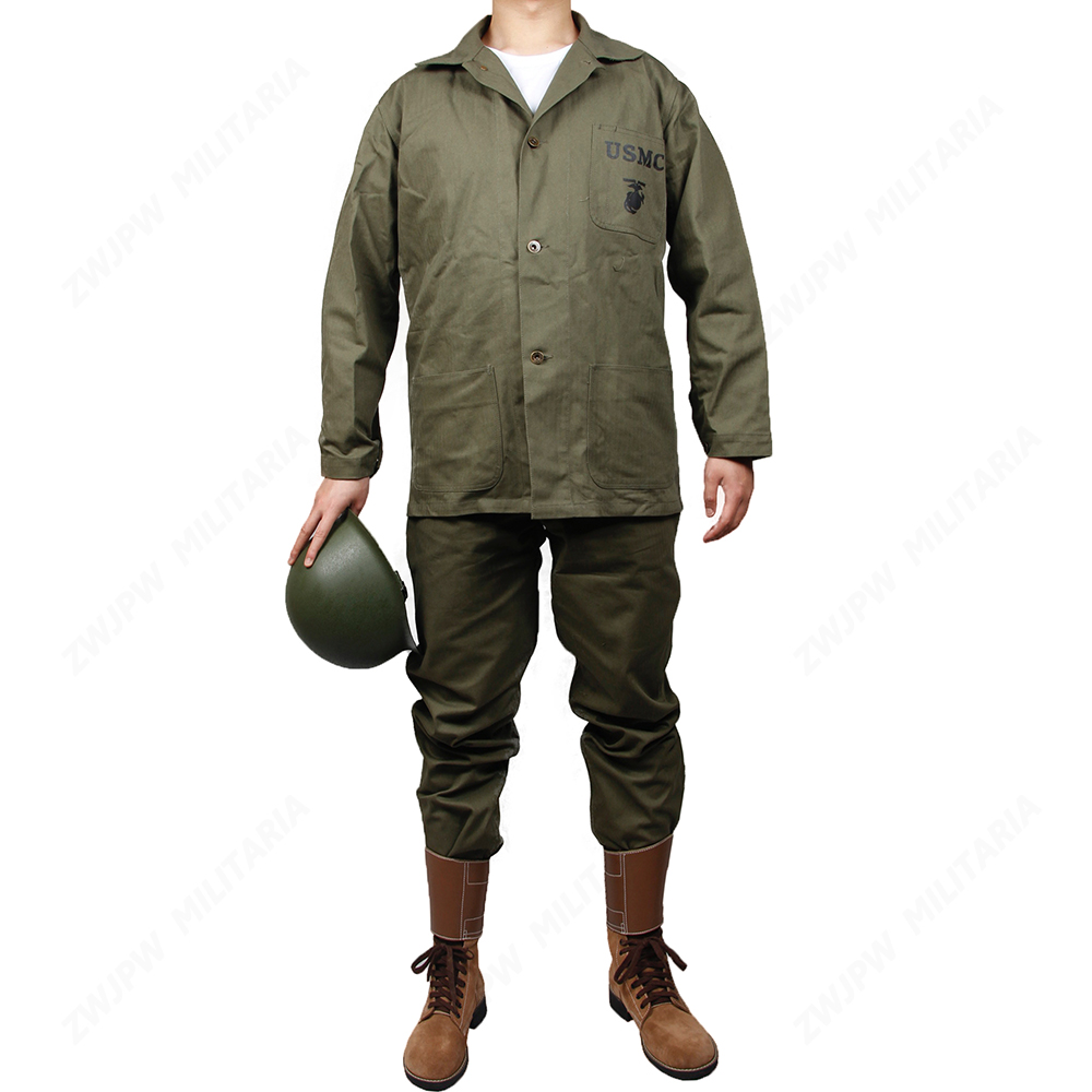 WWII US USMC GREEN HBT UNIFORM JACKET SHIRT AND PANTS BYXA US / 501104 (Ingen hjälm, inga skor)
