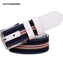 [CATTLEHEADED] 2017 new pin buckle leather belt new striped canvas belt belt influx of high-quality women's brands belt(China (Mainland))