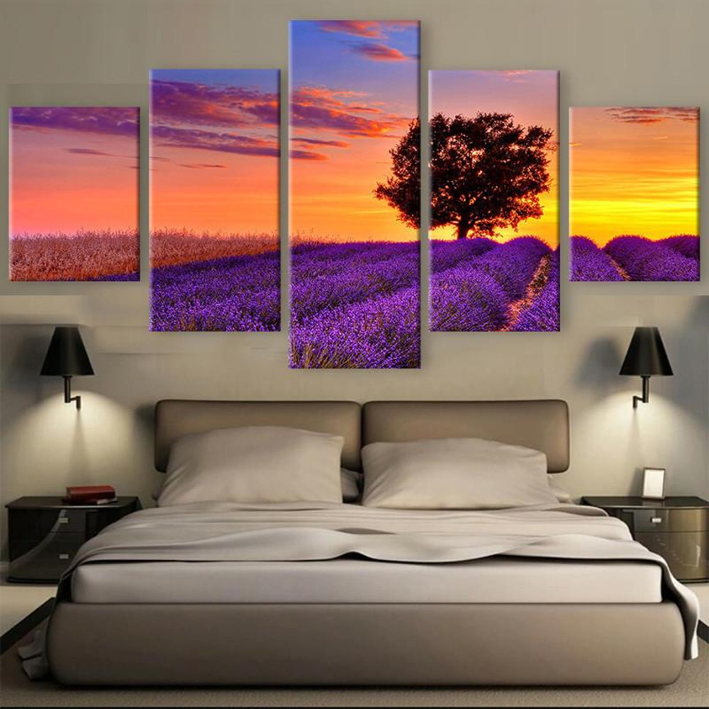 5 Piece HD Print Painting Violet Lavender Sunset Cuadros Landscape Canvas Wall Art Home Decor For Living Room