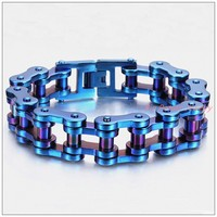 9.25*19mm 155g New Heavy Gift 316L Stainless Steel Blue Motorcycle Bike Chain Men's Boy's Bracelet Bangle High Quality