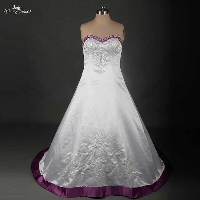 RSW879 Plus Size Hochzeitskleid Stickerei Perlen Satin Lila Und Weiß ...