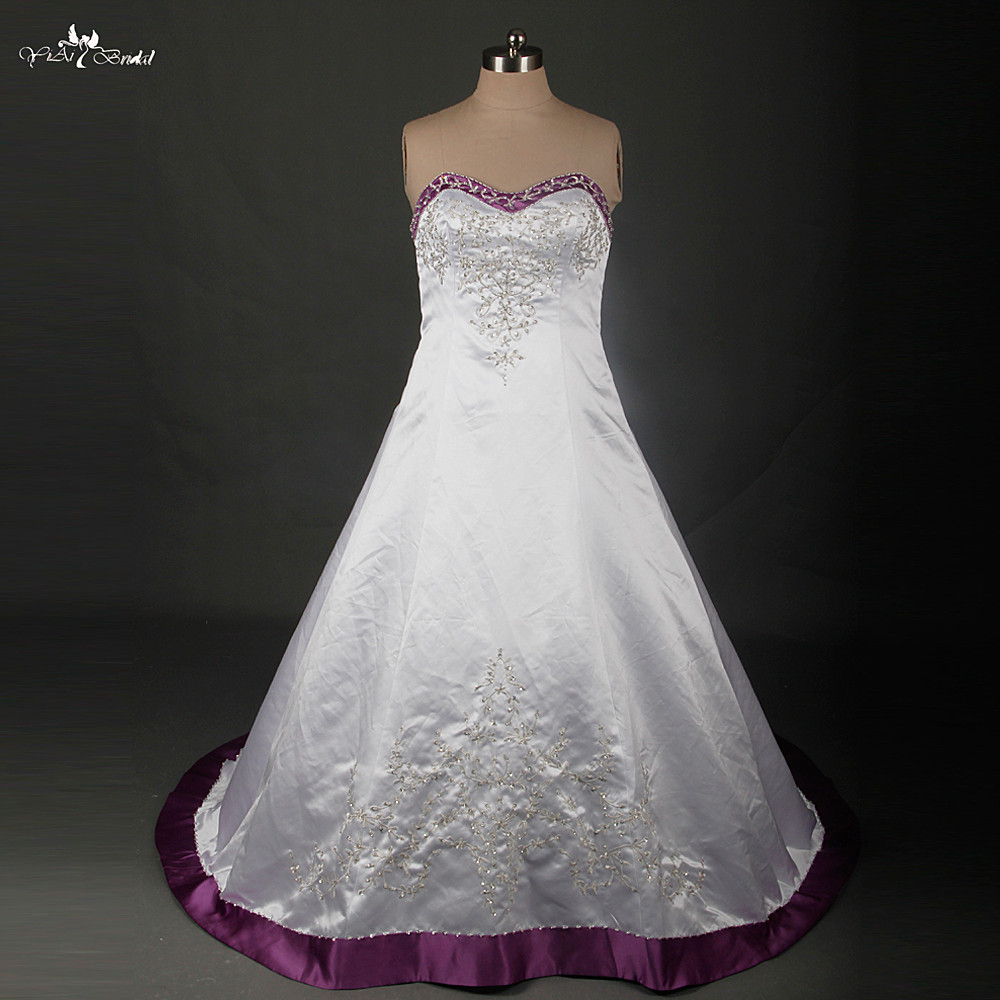 Rsw879 plus size wedding dress embroidery beaded satin for Wedding dresses with purple trim