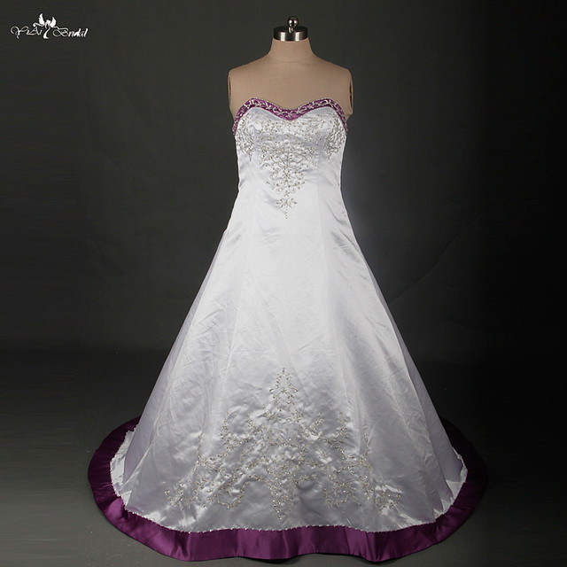 RSW879 Plus Size Wedding Dress Embroidery Beaded Satin Purple And ...