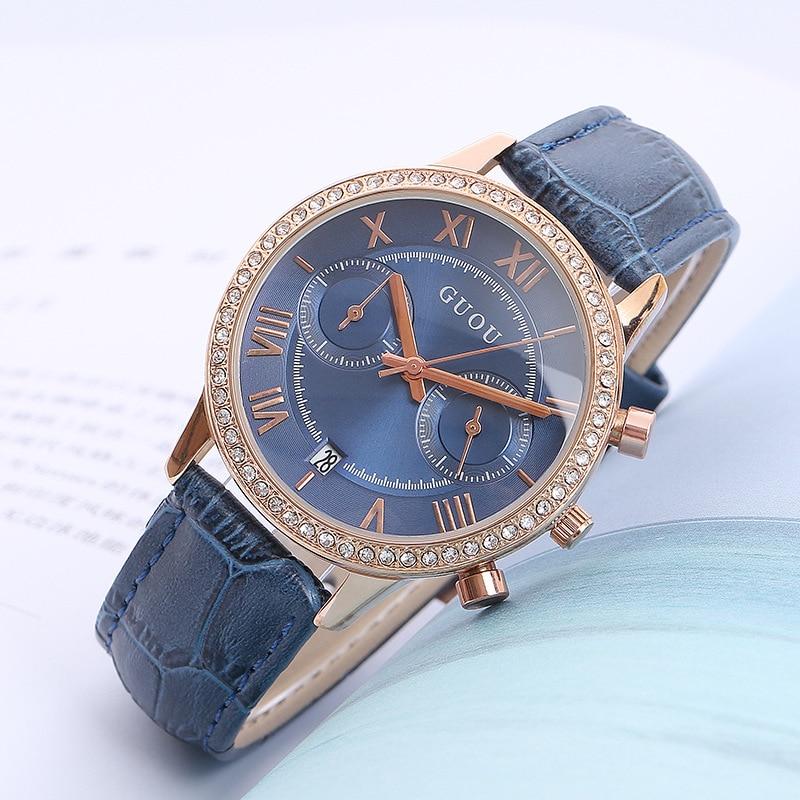 Fashion Guou Brandrelogio Feminino Women Watch 2018 Luxury Vintage Roman Numeral Ladies Dress Wrist Watches Blue Leather Clock