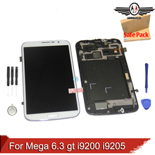 For Samsung Galaxy Mega 6.3 gt i9200 i9205 LCD Display Touch Screen with Digitizer Assembly FRAME + Tools