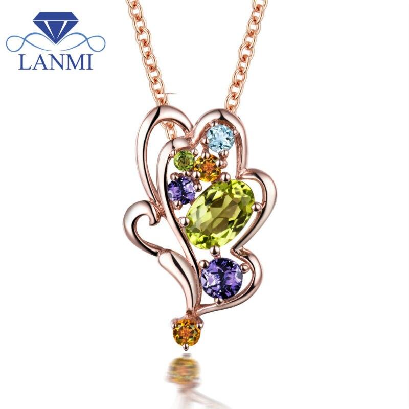 Élégant 18Kt or Rose améthyste diamant pendentif péridot naturel pendentif en pierre pour les femmes WP089