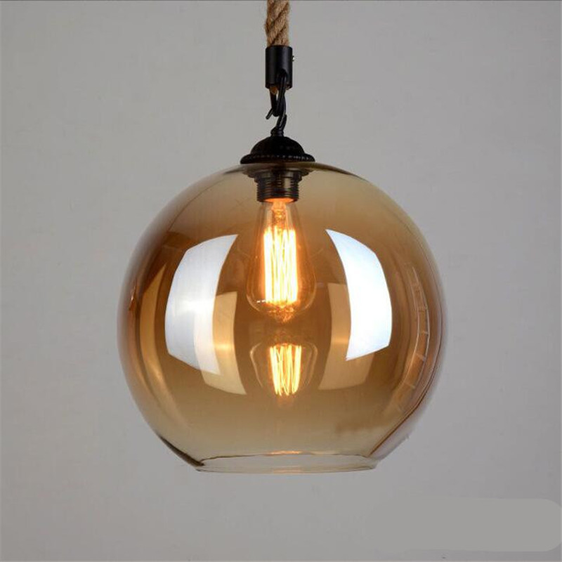 Vintage Handmade Amber Glass Hemp Rope Led E27 Pendant Light For Dining Room Living Room Restaurant Dia 20/25/30cm 2177 стоимость
